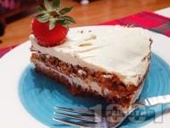 Здравословна нисковъглехидратна безглутенова торта с моркови, сирене маскарпоне, извара (или рикота), заквасена сметана, оризово брашно и орехи